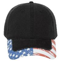 OTTO United States Flag Design Garment Washed Superior Cotton Twill Distressed Visor Six Panel Low P Thumbnail